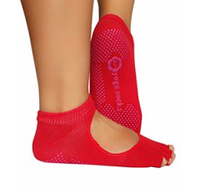 Носки для йоги Yoga Socks с открытыми пальцами и открытым сводом красный