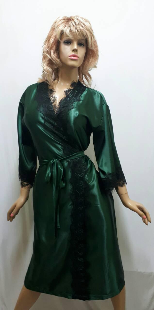 Длинный атласный женский халат  с французским кружевом 469