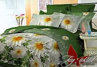 Постельное белье полуторное поликоттон Ромашки на зеленом BP043,магазин постельного