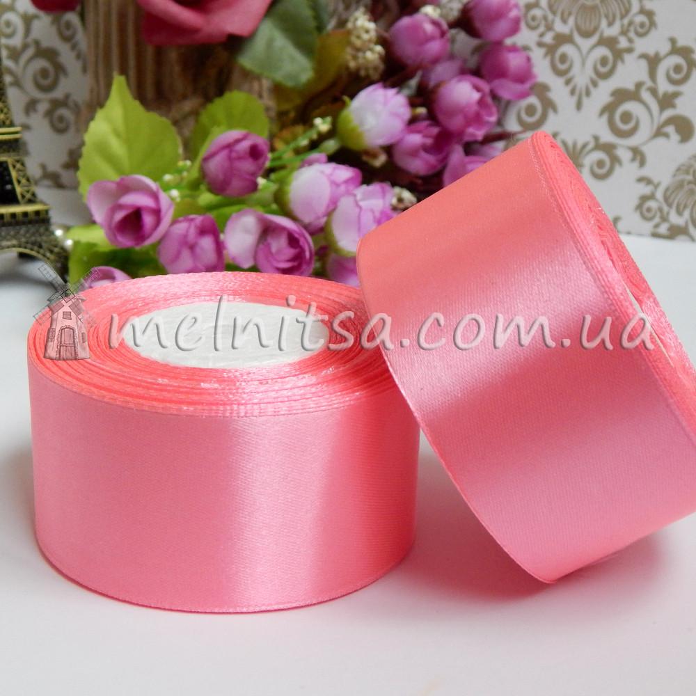 Атласная лента 4 см, №5 розовая