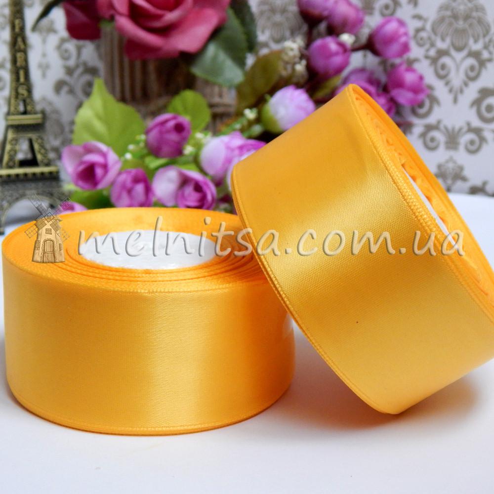 Атласная лента 4 см, №16 насыщенно-желтый