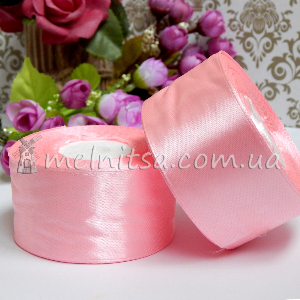 Атласная лента 4 см, №147 нежно-розовый