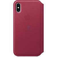 Чехол из натуральной кожи, Apple Leather Folio Berry для iPhone X - цвет «лесная ягода» (MQRX2)