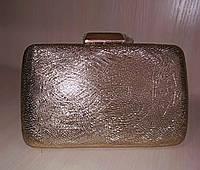 Женский вечерний клатч с необычной текстурой (бронзовый) №3560