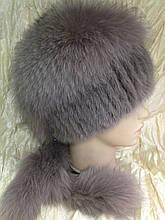 Меховая шапка из норки и песца на вязанной основе цвет топаз