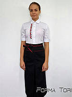 Блузка официанта белая с отделкой вышивка