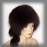 Коричневая меховая шапка из енота (кубанка), фото 1