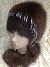 Меховая шапка из норки и песца на вязанной основе цвет коричневый