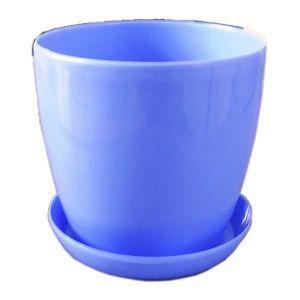 Горшок глянец с подставкой Голубой 11