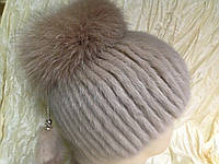 Меховая шапка из норки цвет кофе с молоком на вязанной  основе , фото 1