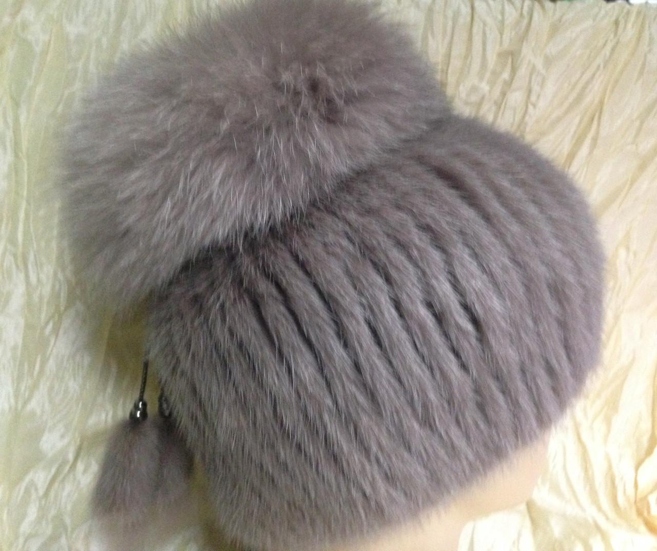 Меховая шапка из норки цвет топаз на вязанной  основе