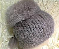 Меховая шапка из норки цвет топаз на вязанной  основе , фото 1