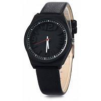Mitina M295 Женские кварцевые наручные часы с объемными цифрами и кожаным ремешком Чёрный