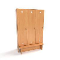Шкаф детский 3-х секционный с лавкой от производителя, (920*300*1400h)