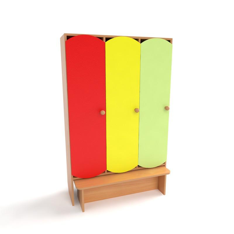 Шафа дитячий 3-х секційний з крамницею з кольоровими дверима. Шафи для одягу в дитячий садок