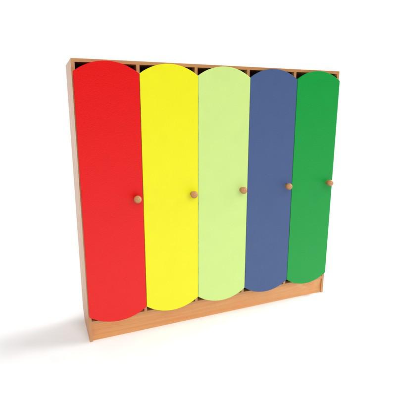 Детский шкаф 5-ти секционный от производителя с цветными дверцами (1520*250*1250h)