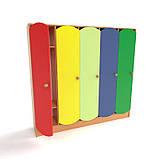 Дитячий шафа 5-ти секційний з кольоровими дверцятами. Шафи для роздягалень в дитячий садок, фото 3