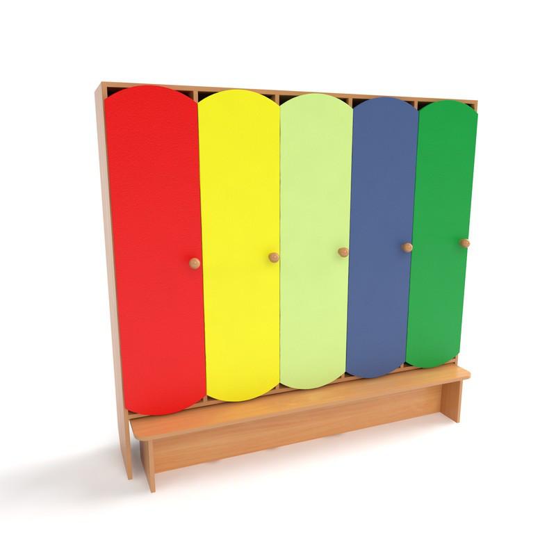 Детский шкаф для раздевалки 5-ти секционный с лавкой с цветными дверцами.