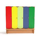 Детский шкаф для раздевалки 5-ти секционный с лавкой с цветными дверцами., фото 2