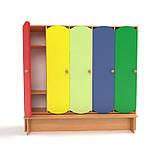 Детский шкаф для раздевалки 5-ти секционный с лавкой с цветными дверцами., фото 4