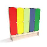 Детский шкаф для раздевалки 5-ти секционный с лавкой с цветными дверцами., фото 5