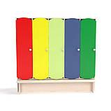 Детский шкаф для раздевалки 5-ти секционный с лавкой с цветными дверцами., фото 6