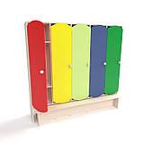 Детский шкаф для раздевалки 5-ти секционный с лавкой с цветными дверцами., фото 7