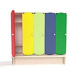 Детский шкаф для раздевалки 5-ти секционный с лавкой с цветными дверцами., фото 8