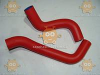 Патрубоки охлаждения ВАЗ 2123 Нива Шевроле ТЮНИНГ силиконовые (армированные) красные (комплект 2шт) (пр-во Россия)