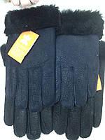 Перчатки мужские из натуральной овчины синие и чёрные