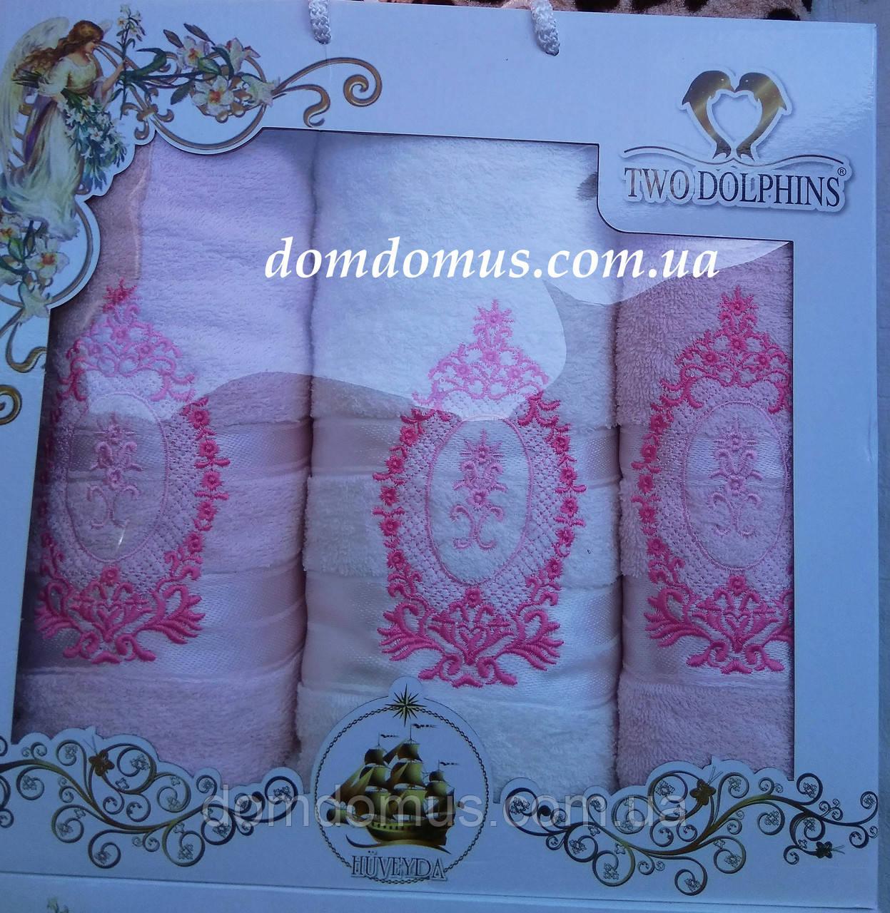 """Подарочный набор полотенец  """"Ester"""" (баня 1 шт., лицо 2 шт.) TWO DOLPHINS, Турция 0173"""