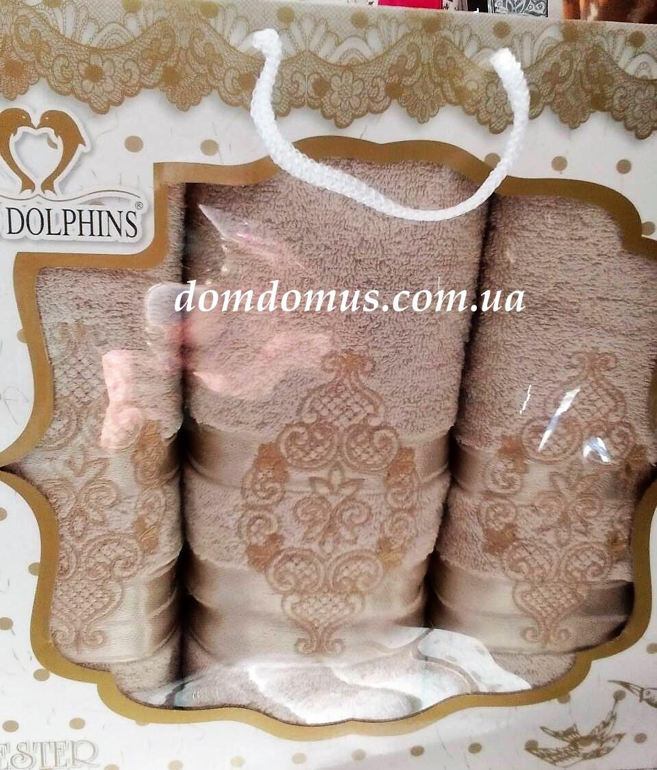 """Подарочный набор полотенец """"Ester"""" (баня 1 шт., лицо 2 шт.) TWO DOLPHINS, Турция 0174"""