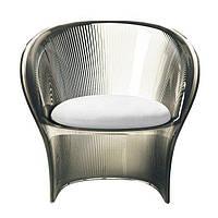 Кресло прозрачный коричневый Цветочный белый материал