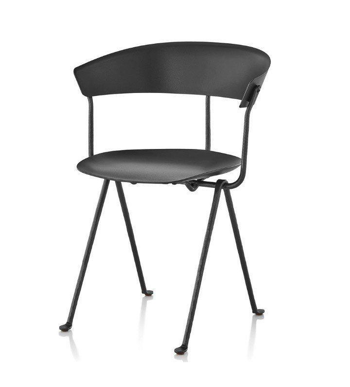Стул Officina черные ноги, черное сиденье и спинка