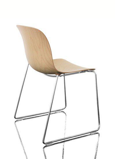 Стул Троя сиденье из фанеры, хромированная рама натуральный бук