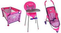 Набор для кукол Graco 3 в 1 коляска, манеж, стульчик для кормления