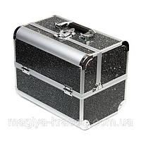 Алюминиевый кейс для косметики с выдвигающимися полками, сияние,черный, фото 1