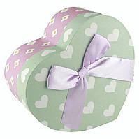 Подарочная коробочка в форме сердца мятно-розовая 11.5 x 9.8 x 5.2 см