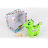 Заводная игрушка 825  динозавр, ездит, несет яйца, 3цвета, в кор-ке, 13-11,5-9,5см