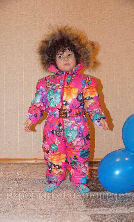Зимний детский комбинезон на девочку, флис и синтепон с мехом