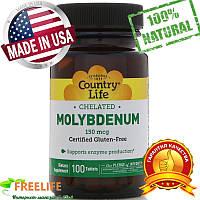 Молибден Country Life, хелатный, 150 мкг, 100 таблеток