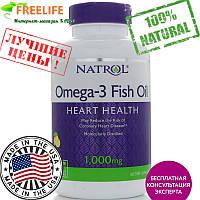 Natrol, Омега-3 рыбий жир, со вкусом лимона, 1000 мг, 150 желатиновых капсул, купить, цена, отзывы
