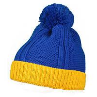 Шапка желто-синяя, акриловая