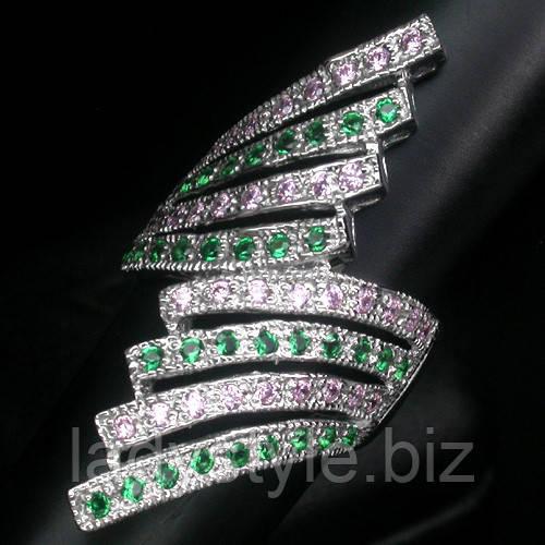 """Незвичайний перстень """"Віяло"""" з гранатом цаворитом і рожевими сапфірами, розмір 17,3 від"""