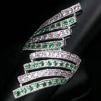 """Необычный перстень """"Веер"""" с гранатом цаворитом и розовыми  сапфирами, размер 17,3 от студии LadyStyle.Biz"""