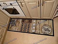 Ковер на кухню Кофе 50х150см. коричневый на резиновой основе