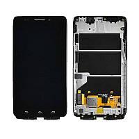 Дисплей (экран) для Motorola XT1080 Droid Ultra с сенсором (тачскрином) и рамкой черный