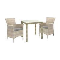 Столовий  комплект Wicker  стіл 73*73 см + 2 крісла, колір бежевий,темно - коричневий