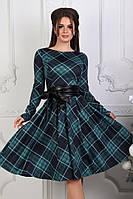 Платье женское удлиненное в клеточку, морская волна. Размеры: 42-46
