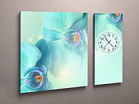 Фотокартина модульная с часами голубые цветы